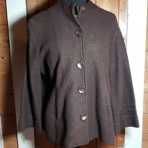 Boiled Wool Big Button Jacket